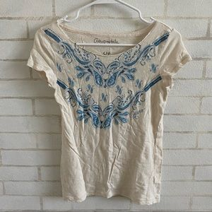 Aeropostale Distressed Tee With Blue Detailing